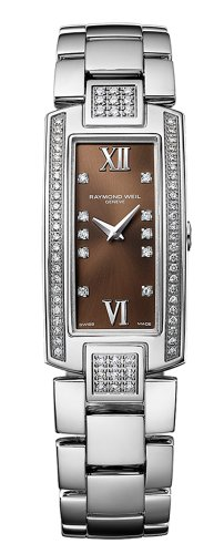Raymond Weil Shine Stainless Steel & Diamond Womens Luxury Watch Brown Dial 1500-ST2-00775