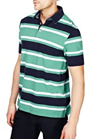 Blue Harbour Pure Cotton Block Striped Polo Shirt [T28-6534B-S]