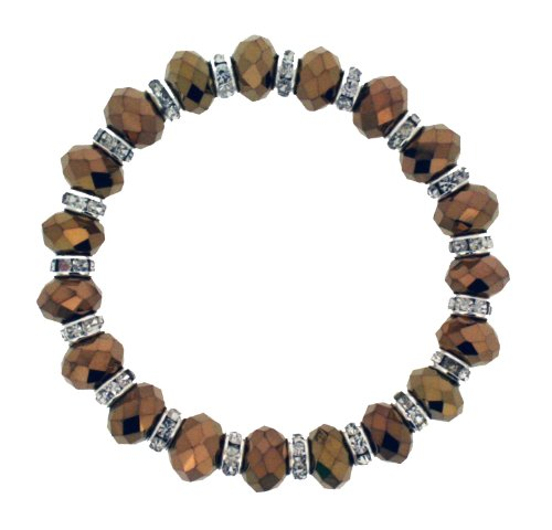 Expandable Copper Colour Shimmering Acrylic & Clear Crystal Bead Bracelet
