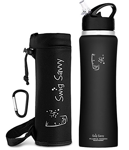 Swig Savvy's Stainless Steel Insulated Water Bottle, Wide Mouth 25 Oz Capacity, Double Wall Design, with flip straw and sweat-proof rubber coating -Including Water Bottle Pouch (Black) (Soda Bottle Straw compare prices)