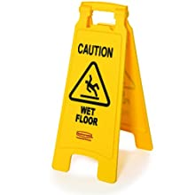 "Rubbermaid Commercial FG611277YEL Floor Safety Sign, ""Caution Wet Floor"" Imprint, 2-Sided, Yellow"