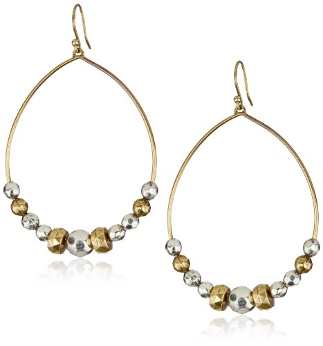 """Lucky Brand """"Beaded Hoops"""" Silver and Gold-Tone Bead Hoop Earrings"""