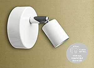 1 Way Single Head Round Spotlight Bar Fitting Ceiling Light with Adjustable Head GU10 in White from Abakus Direct