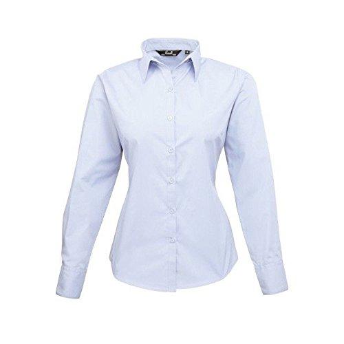 Da donna A manica lunga popeline camicia, da lavoro, in tinta unita Light Blue 44