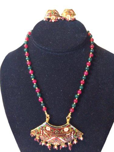 Jewelry Set Gold Red Meenakari Pendant Red Green Beads Indian Thewa Jewellry