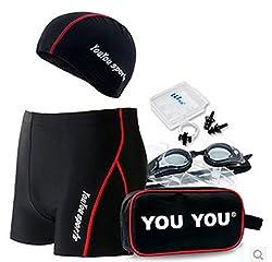 メンズ スイミング5点セット フィットネス水着・水中ゴーグル・スイムキャップ・ノーズクリップ&耳栓・ポーチ (タイプA, XL)