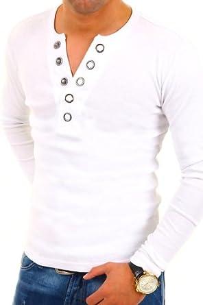 MyTrends - T-shirt tendance à manches longues et patte de boutonnage - BL-624 - Taille S