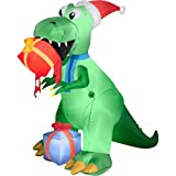 Christmas Decor Airblown Inflatable 7.5' Dinosaur T-Rex eating Gifts