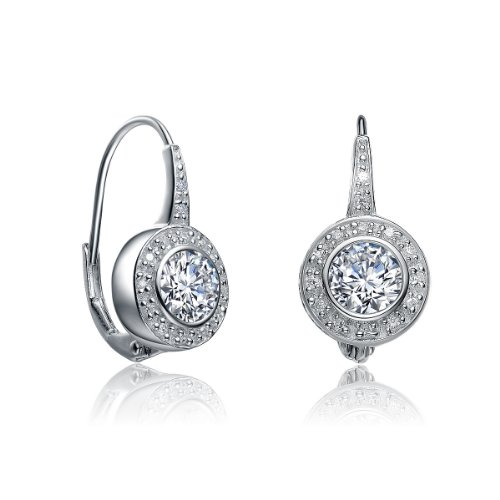 Clevereve Designer Series Sterling Silver White Round Bezel & Pave Cz Euro Wire Earrings 9.25 X 18.75Mm
