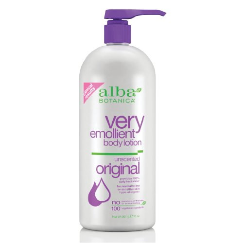 Alba Botanica Unscented Very Emollient Body Lotion, 32 Ounce Bottle