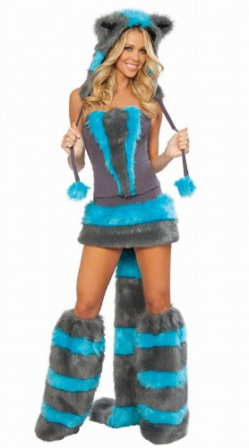 Ladies 5 Piece Cheshire Cat Corset Faux Fur Fancy Dress Costume Outfit UK 8-10-12