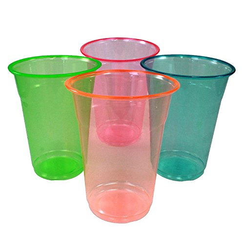Enimay 16 oz. Neon Tumbler Cups Soft Plastic Assorted Parted Supplies 20 Pack - 1