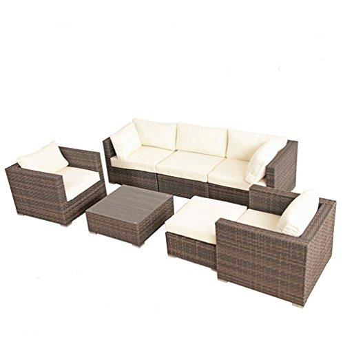 POLY RATTAN Lounge Gartenset BRAUN Sofa Garnitur Polyrattan Gartenmöbel Neu online kaufen