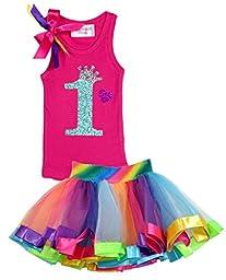 Bubblegum Divas Baby Girls\' 1st Birthday Rainbow Tutu Outfit 18 Months