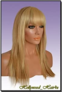 Hollywood_hair4u - Long Razored Ends with Bangs #101 Blond with Light Brown Low Light Kanekalon Heat Resistant Synthetic Wig with Skin Top *NEW*