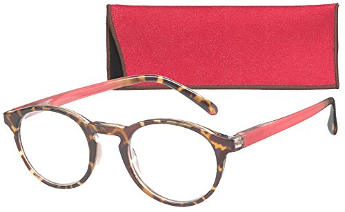 Round Retro Lightweight Women's Reading Glasses with Soft Ca