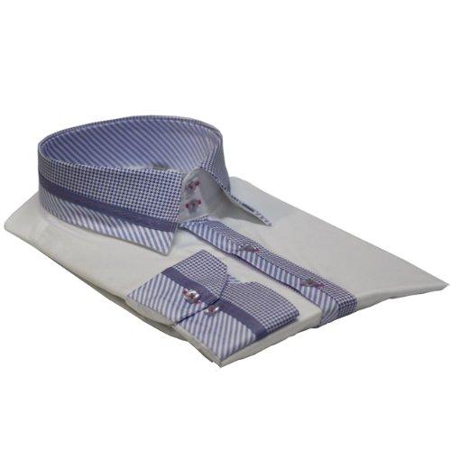 Men Shirt Italian Design High Collar Slim Fit Smart Casual Formal Double Button SL472 White