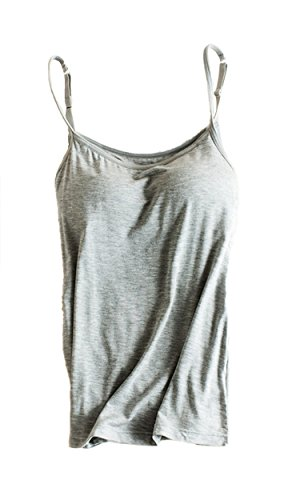 Foxexy Womens Modal Built-in Bra Padded Active Strap Camisole Tanks Tops Grey US 2-4 (Padded Bra Tank Top compare prices)