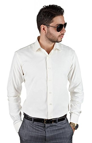 Tailored Slim Fit Men's Unique Color Dress Shirt Spread Collar By Azar Man (Large 16, Ivory Off White)