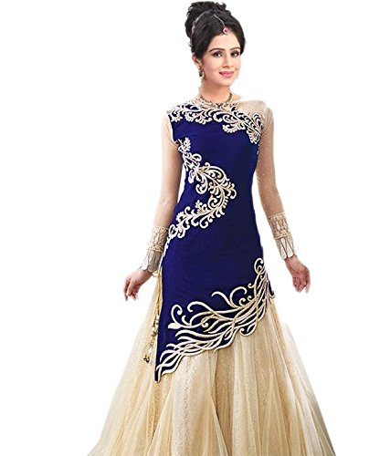 Sky Global Women's Blue Georgette Embroidered Lehenga Type Dress Material (Unstitched) (Dress_Blue_Freesize)