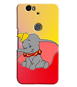 Blue Throat Cute Little Elephant Printed Designer Back Cover For Huawei Nexus 6P