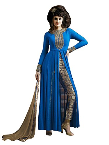 1 Stop Fashion Mark your presence with your mesmerizing look by styling with this marvlos salwar suit. Beautiful Semi Stitched Salwar Suit is designed with Embroidery work. Blue Georgette Salwar suit is matched with Beige Unique Brocade Bottom and Beige Chiffon Dupatta. Accessories shown in the image are for photography purpose. (Slight color variation is possible)