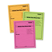 Adams Neon 5 x 4 Inches While You Were Out Message Pad 6 Pack (9711NEON)
