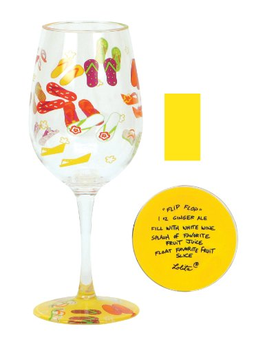 Cr Gibson Lolita Love My Party Of Two, Flip Flop 16-Ounce Acrylic Wine Glasses, Set Of 2