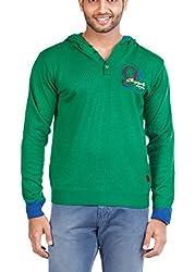 Zovi Acrylic Pepper Green Full-sleeved Pullover With Hood (10409795401_Medium)
