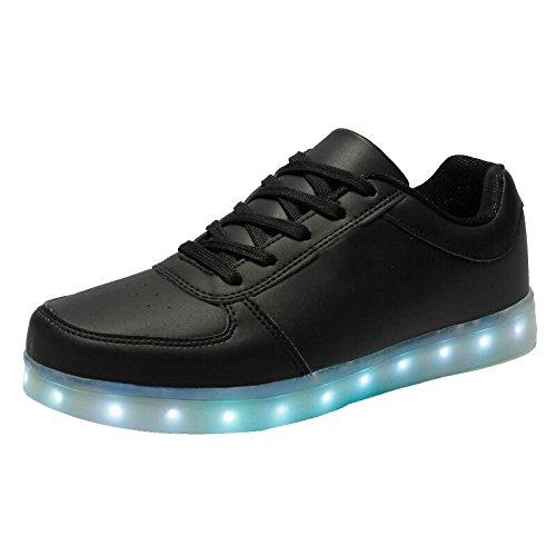 Moollyfox Bambini 7 Colore Usb Carica Led Lampeggiante Luminosi Sneakers Scarpe Sportive Per Esterno Partito Sport Scarpe Nero 33