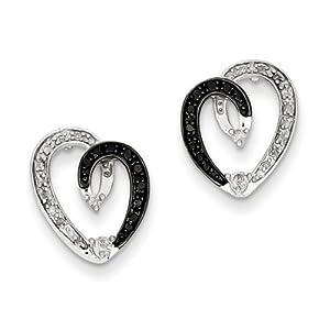 IceCarats Designer Jewelry Sterling Silver Black White Diamond Heart Post Earrings