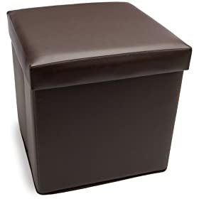 Homz Square-Shaped Faux-Leather Storage Ottoman