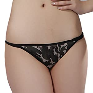 Sexy Panties Camouflage Pattern Hollow Embroider Women Lingerie T-back G-string