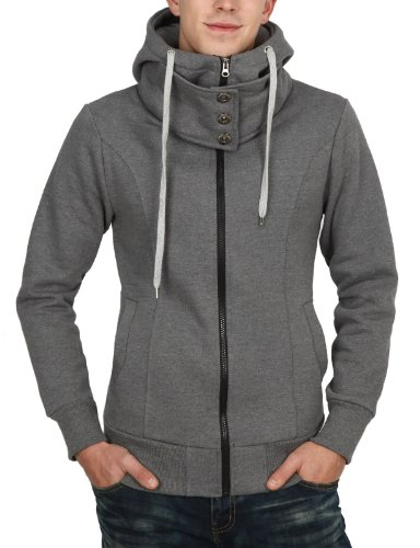9Xis Mens Casual Napping Zip-Up Long Sleeve Hoodies GRAY M (9MH012)