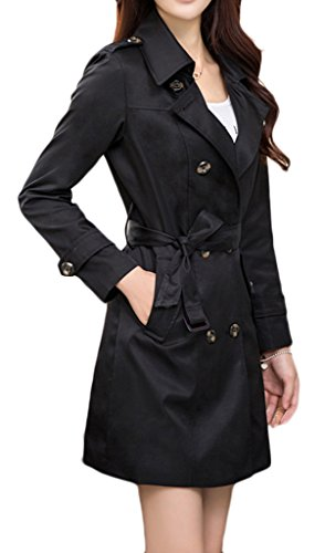 Womens Turn Down Collar Double-Breasted Long Trench Coat