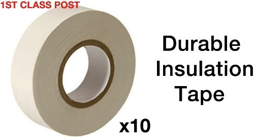 10X Pvc Electrical Insulation Tape - White - 19Mm X 20M Roll