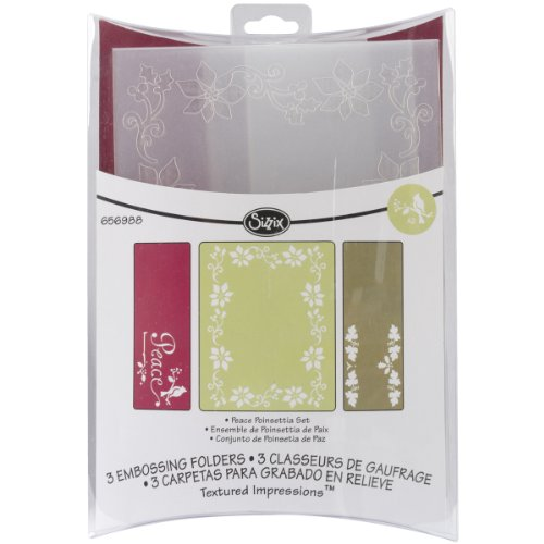 Sizzix Textured Impressions Embossing Folders 3Pk - Peace Poinsettia Set By Rachael Bright