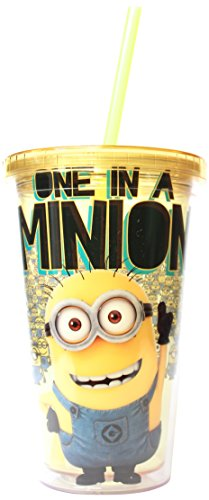 Silver Buffalo DM09087 Despicable Me One in a Minion Cold Cup with Lid and Straw, 16-Ounce, Yellow - 1