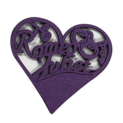 Lot de 50pcs Carte de Verre Marque Place Forme de Coeur Ajouré Décoration de Table - Violet
