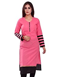 Crown Pink & Black Color Cotton Printed Stitched Kurti