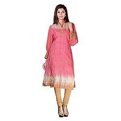 Sarvottam Chanderi silk kurta with bell sleeves P00008