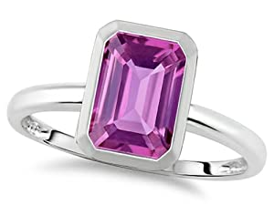 Tommaso Design 8x6mm Emerald Octagon Cut Created Pink Sapphire Engagement Solitaire Ring 10k Size 6