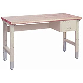 "Lyon PP2472A Pressed Wood Over Steel Top Adjustable Slide Bolt Legs Work Bench with Drawer and Stringer, 72"" Width x 34"" Depth x 36-1/4"" Height, Putty"