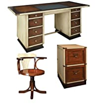 Hot Sale Captain's Desk with Purser's Chair and Campaign Filing Cabinet, Ivory and Honey - Office Nautical Furniture Kit, Solid Wood Desks with Chair and Filing Cabinet, Ivory and Honey - Working Desk with Chair and Filing Cabinet