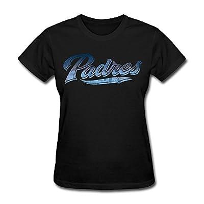 AHOO Women's Tee Shirt San Diego Padres WordMark Black