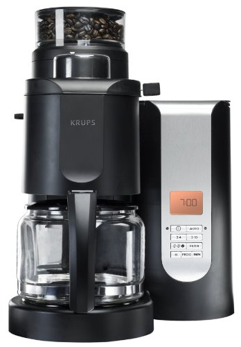 KRUPS KM70052 10-Cup Grind and Brew Coffee Maker with Stainless Steel Conical Burr Grinder, Black