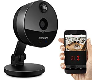 Foscam C1 Indoor HD 720P Wireless Plug and Play IP Camera with Night Vision Up to 26ft, Super Wide 115° Viewing Angle, PIR Motion Detection, and More (Black)