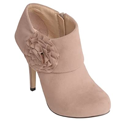 Brinley Co Womens Rose Trim High Heel Platform Bootie
