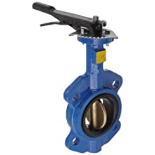 "Dixon BBFVW300 Ductile Iron Wafer Style Butterfly Valve with Aluminum Bronze Disc and Buna-N liner, 3"" Size, 200 psi Pressure"