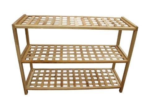 3 Tier Walnut Wooden Shoe Rack Shelf / Shoe Organiser